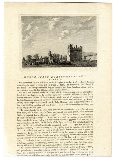 1775 HULNE ABBEY Alnwick NORTHUMBERLAND Antique Print (1)